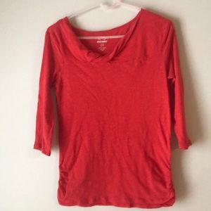 Orange-Red Twisted neck 3/4 length sleeve top